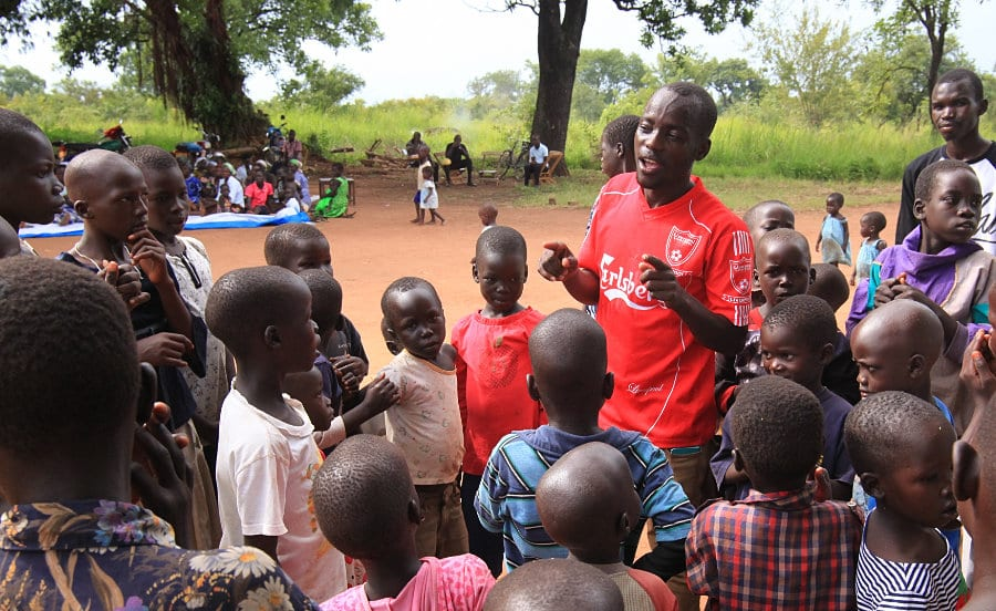 Talking with a group of kids